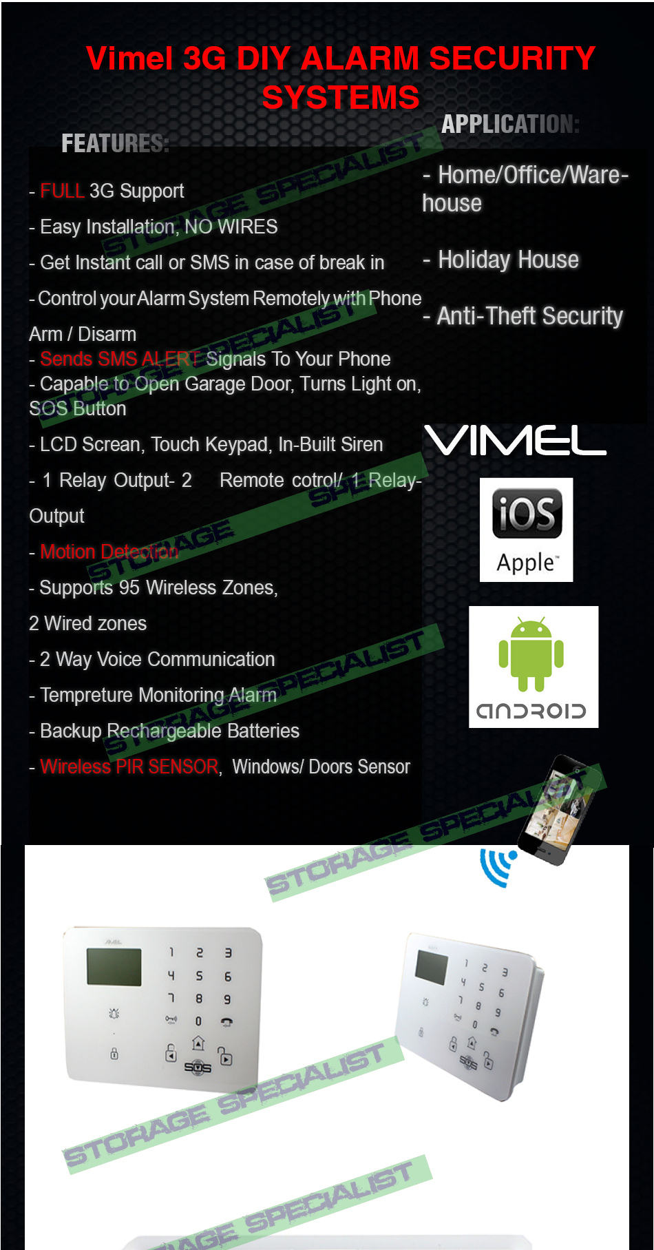 Alarm Home Security System 3g Gsm Wireless Android Iphone Anti Theft Door And Window Infrared Monitoring Antitheft Circuit Ultimate Vimel Full Band Support Works With Telstra Vodafone Tpg Optus Amaysim