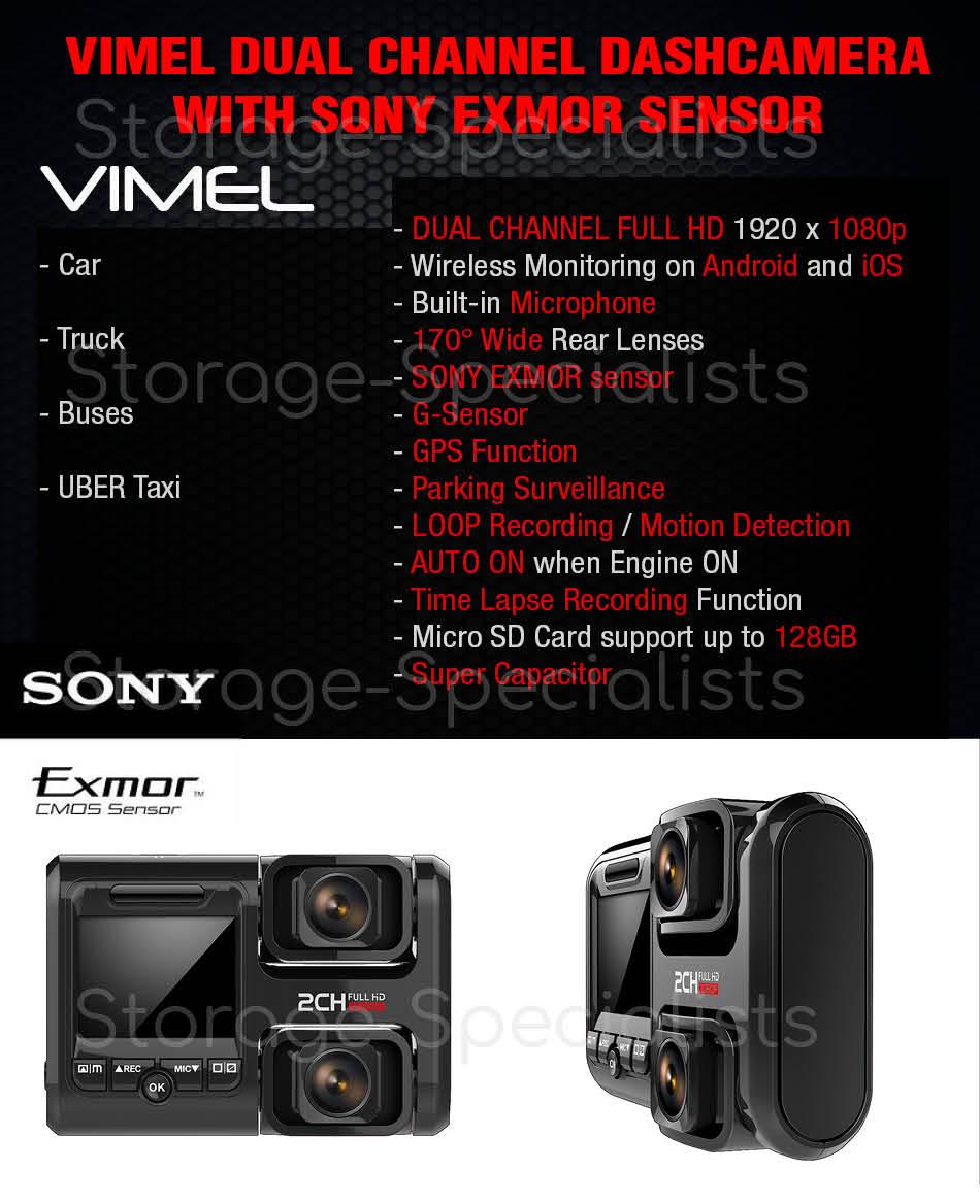 Dash Camera Vimel 64GB GPS logger Speed Recorder Dual Lens Taxi Cam Car Security