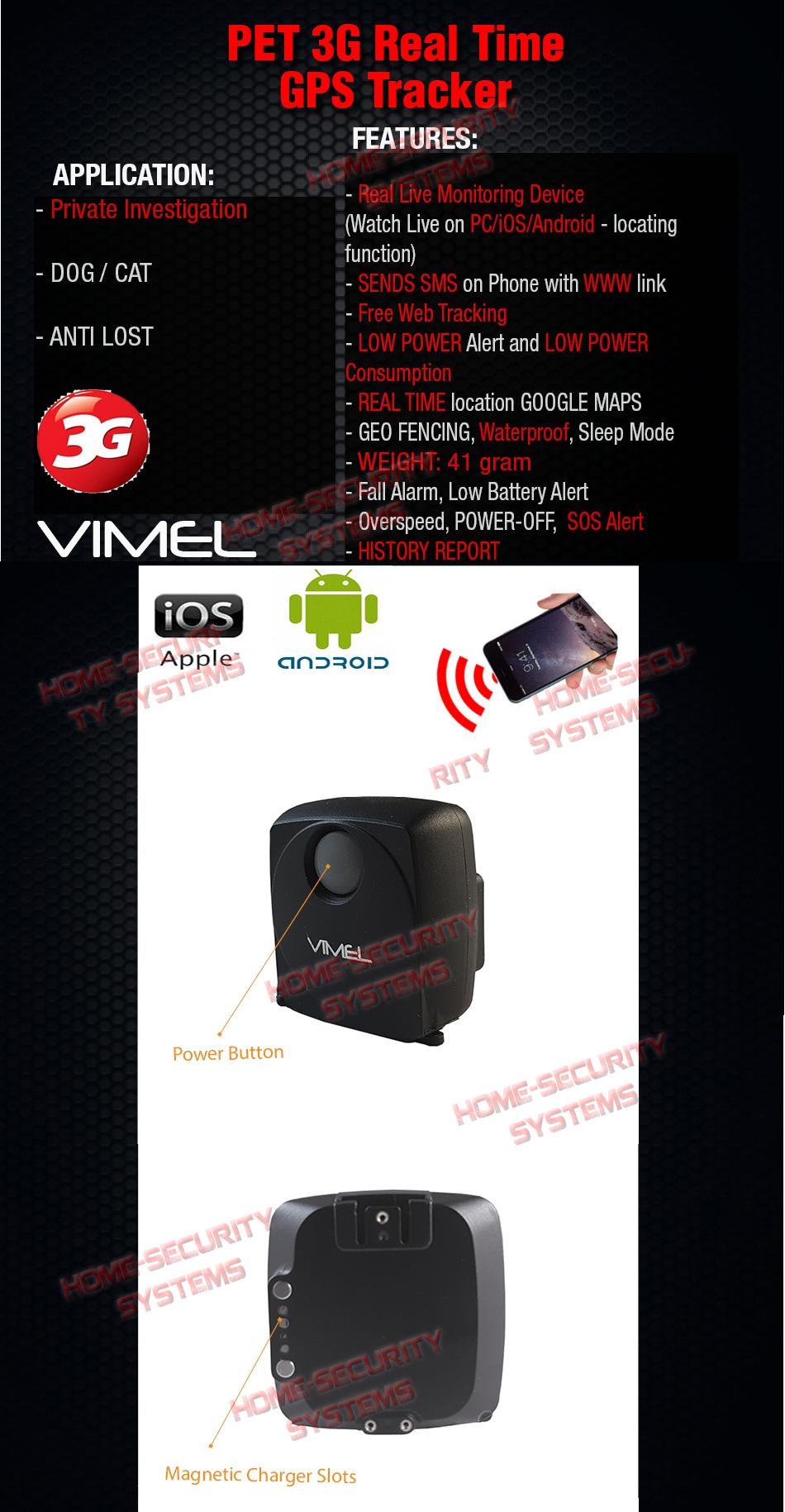 3g gps tracker vimel pet cat dog free web real time live. Black Bedroom Furniture Sets. Home Design Ideas