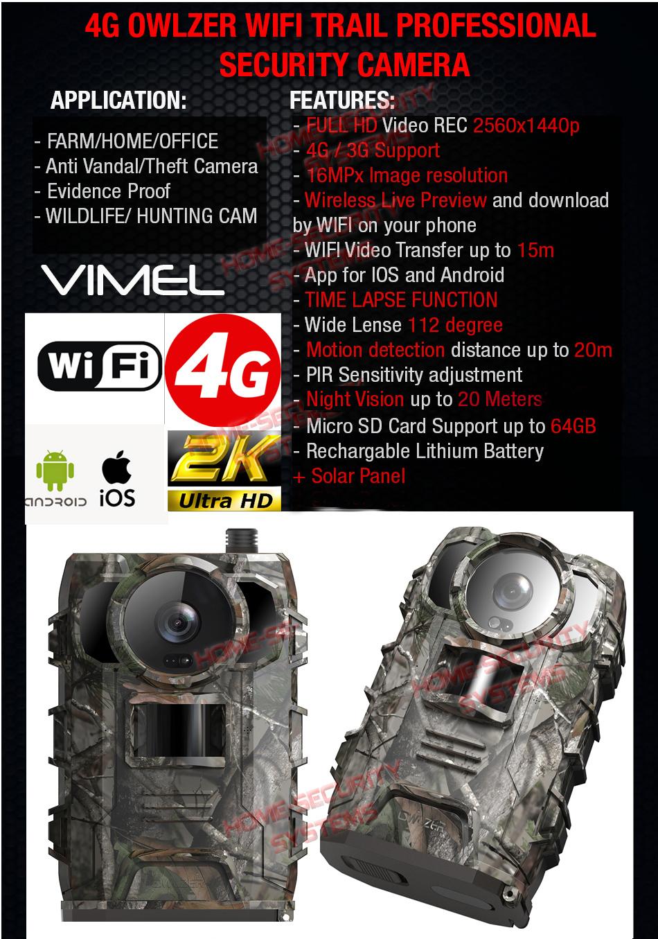 Trail Camera 4G Owlzer 2K UHD 2560x1440 3G Hunting Farm Home Night Vision Motion