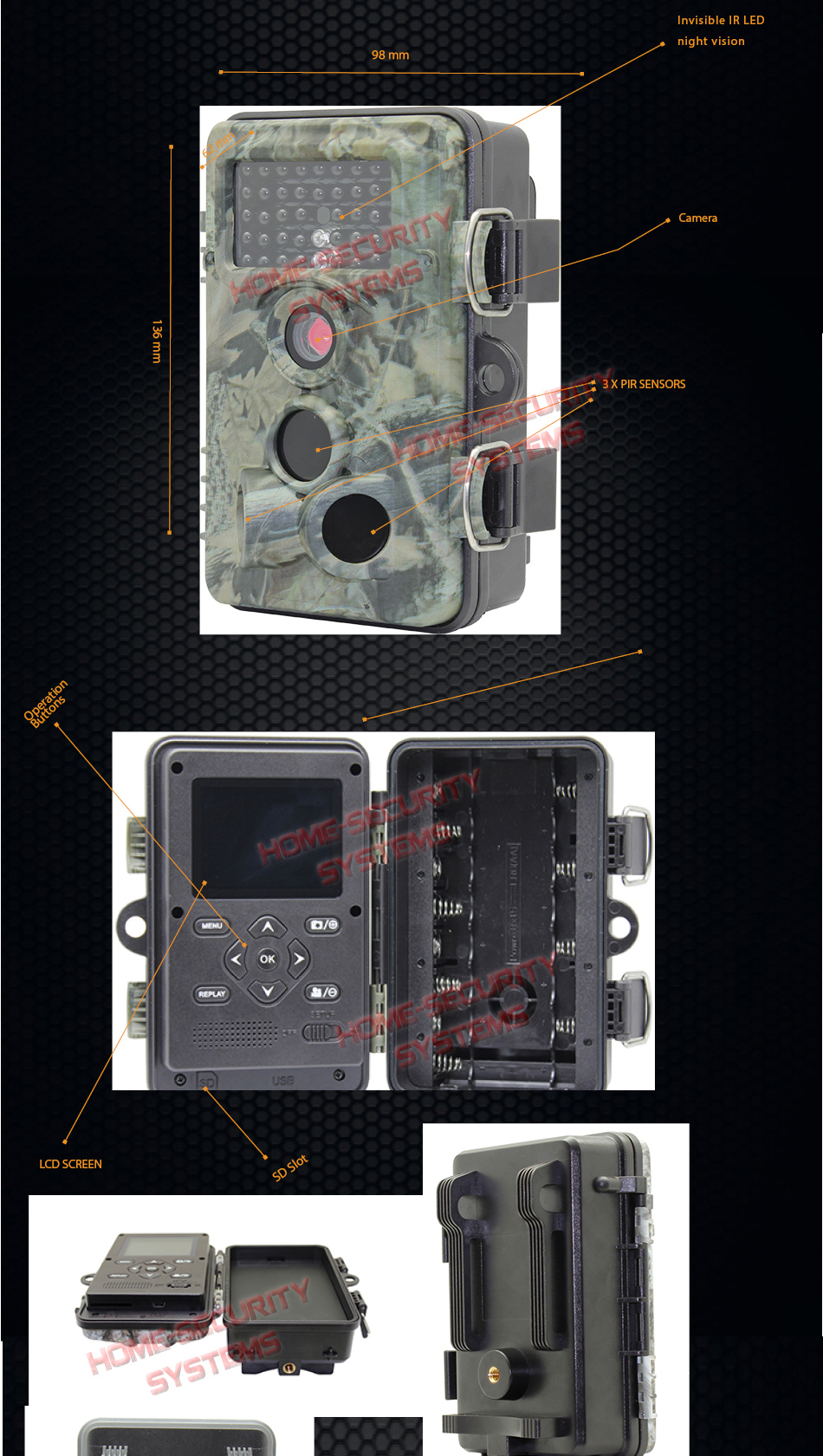 Trail Camera Farm Home Security 32gb Scout Hunting Night