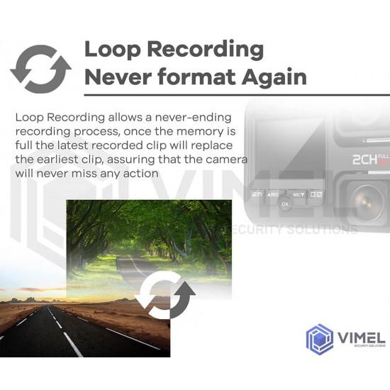 VIMEL Night Vision DUAL DASH GPS WIFI 4K Car Camera