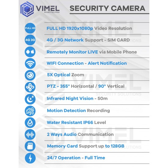4G Security Construction WIFI PTZ Camera 5X Zoom
