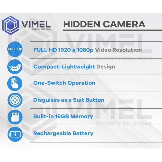 Wearable Spy Button Mini Camera 1080p