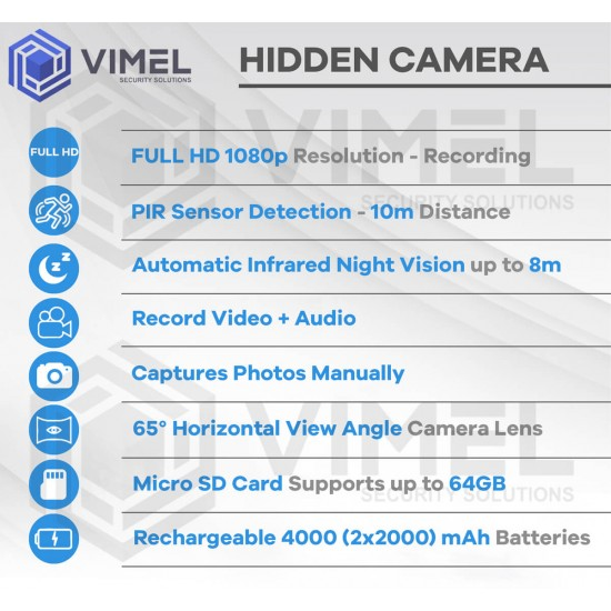 Home Spy Alarm Digital Hidden Clock PIR Sensor Camera