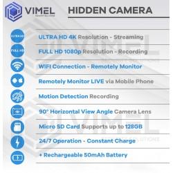 Wireless Spy Wall Power Adapter Hidden Security Home Camera