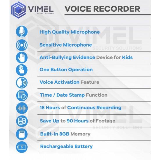 Anti-Bullying Hidden Evidence Voice Audio Recorder
