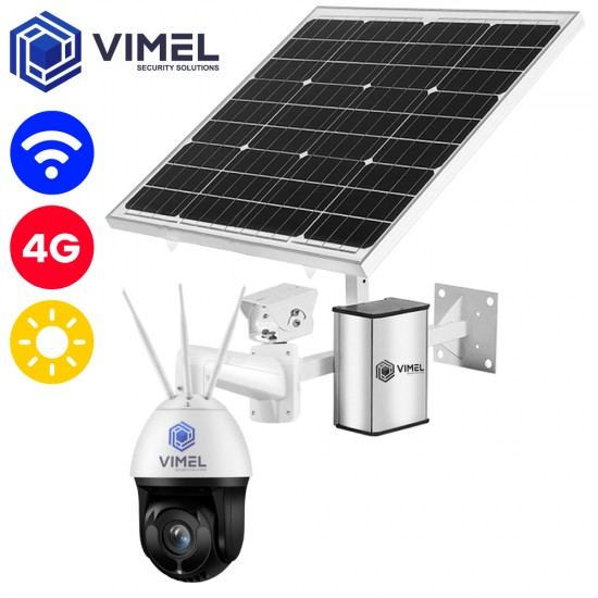 4G SIM card Camera 2K QHD Auto Tracking 100Watt Solar Panel Battery Operated