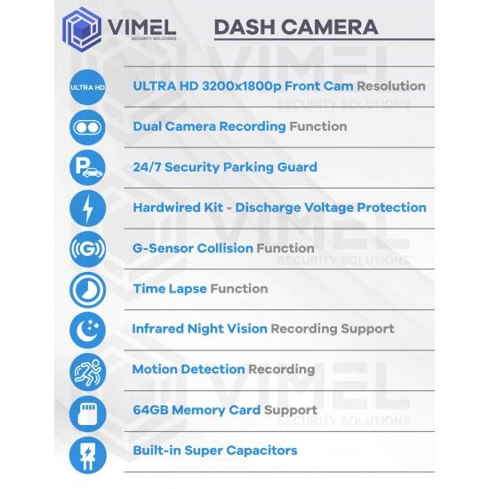 Dual Dash Camera 24/7 Parking Mode