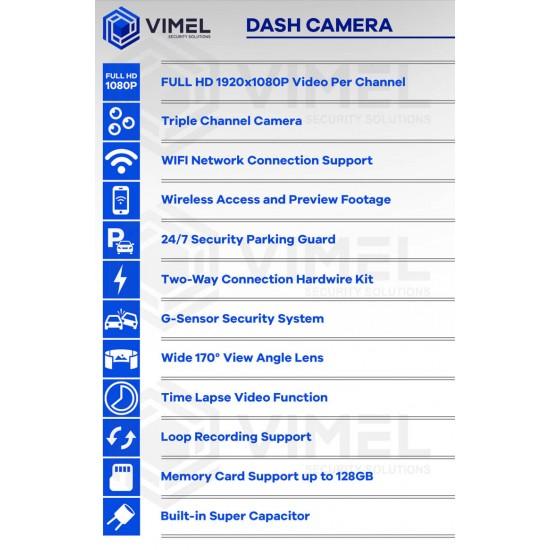 24/7 Triple Channel Dash Camera WIFI