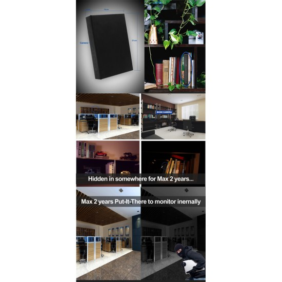 Book Camera 1080P Spycam Motion Activated with Night Vision