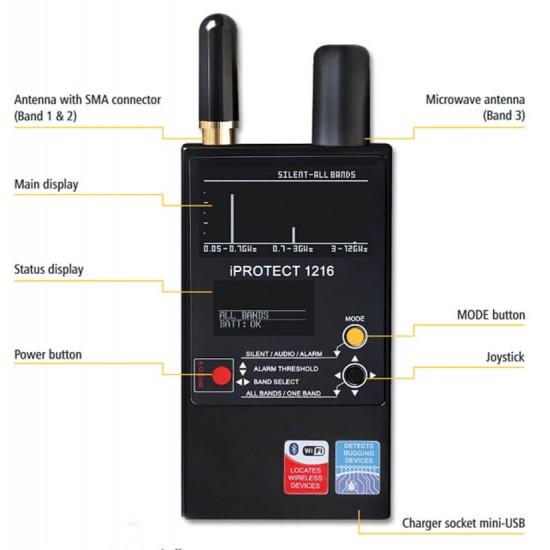Protect 1216i Wireless Spy Camera Scanner Hidden Bugs Finder